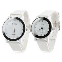 Pair of PU Analog Quartz Wrist Watches (White)