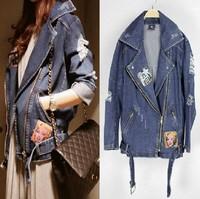 2014 fashion Women Korean version new vintage denim jacket long sections boast Monroe shoulder denim suit small casual jean suit
