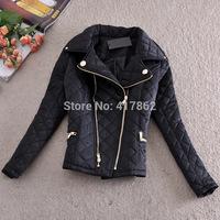 Free shipping U&Me New 2014 winter European and American decorative zipper Slim Ling plaid cotton women coat jacket outerwear