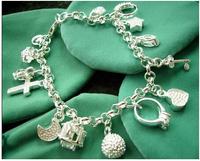 Free shipping No min order wholesale 925 silver jewelry Bracelet 13charms silver Bracelet