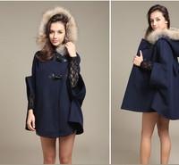Fur Collar Autumn Winter Cloak Hooded Cape Woollen Coat 2014 New Women Jackets Trench Long Casacos Femininos Desigual Overcoat