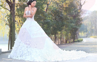 2015 New Style Bridal Dresses Strapless White Satin Tulle Lace Applique Petal Beading Wedding Dresses Wedding Gown W14951