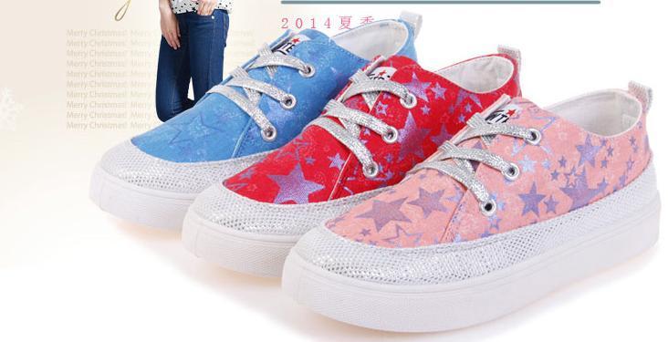Large base sponge breathable pentagram recreational canvas shoes(China (Mainland))