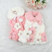Free shipping -4pcs/lot-Children vest fur vest 2014 Korean version  three-dimensional flower girls fashion Tong vest