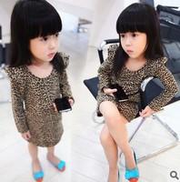 Free Shipping 1pc/lot Baby Girl Dress Fashion Leopard  Cotton Dress Child Children Bottoming Dress Princess Girls Gift Dress