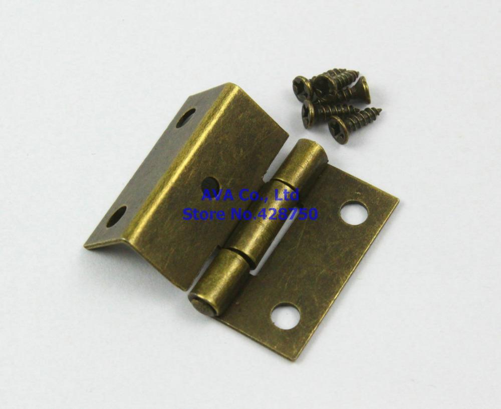 40 Antique Brass Jewelry Box Hinge Small Hinge 25x24mm with Screws(China (Mainland))