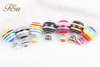 New Fashion Paragraph 7 Different Multicolor Hot Selling Earrings 2014 Double Side Shining(16mm) Stud Earrings For Women #913