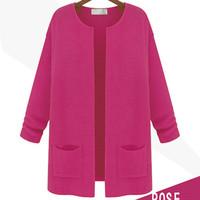 2014 new European style women's long  cardigan sweater women thin coat