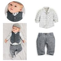 5sets Children Boy's 2014 Autumn Spring Long sleeve Plaid shirt+ waistcoat+pant boy gentleman  three-piece/set tz542