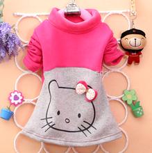 baby Girls Kid Micro fleece kitty top Warm Long sleev T Shirt winter 1 pc/set Free Shipping size 2 3 4 Y(China (Mainland))