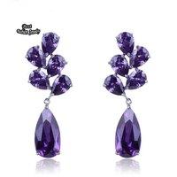 Purple Water Drop Dangle Earring Fashion Crystal Zircon Earring High Quality ZC107ER
