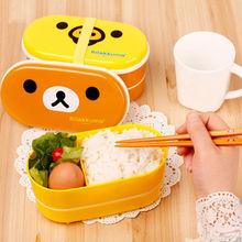 Brown Microwave Rilakkuma Bento And Nostrils Chickens Multilayer Children Lunch Box(China (Mainland))