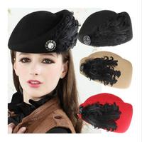2014 New Vintage Wool Felt Hat Shipform Stewardess Cap Women Pure Woollen Jazz Fedoras Chapeu Feminino 5 colors KH-905