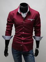 New 2014 Autumn And Winter Men Shirt Fashion Slim long-sleeved Mens Dress Shirts Free Shipping Promotion