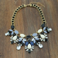 4 colors High quality Stylish Chunky Chain Hand made Multicolor Acrylic Statement Pendant Necklace Party gift for girls