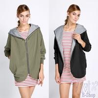 New Autumn Jacket Hoodies Casual Women's Fashion Black Long Sleeved Hooded Jacket With Pockets Sport Coat Plus Size XL XXL XXXL