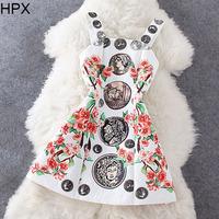 Women Fashion Floral Coin Print A-line Cute Mini Dress with Shoulder Belt,Ladies 2014 Autumn New Brand European American D1114