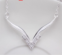 Free shipping No min order 925 SILVER Charm crystal necklace for women silver fashion necklace