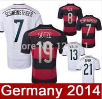 Thai-Qualitat Deutschland WM 2014 Deutschland Home Trikot Auswarts white schwarz football soccer jerseys -Shirts Deutschland