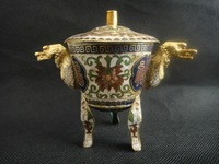 christmas decoration White  Old Decorated handwork Brass Cloisonne Paint Flower Dragon Incense Burner
