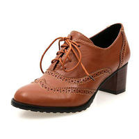 New Fashion Vintage British Style Lace Up Thick Heel Oxford Shoes For Women Plus Size 34-43 High Heels Women Oxfords Shoes Woman