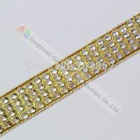 Free shipping 10yards/lot  4 row Gold Ribbon clear crystal rhinestone ribbon diamante tape