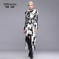 2014 New design brand trench coat woman's vintage double button coat long trench plus size print overcoat outwear S-XXXL