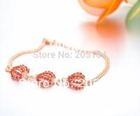 Designer For Women China wholesale cheap nice fashion Stylish Red  Lantern Ball Rhinestone Jewelry Gold Bracelet