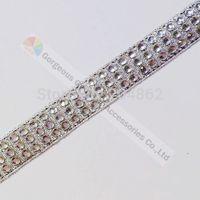 Free shipping 10yards/lot 3 row Sliver Tape clear crystal diamante rhinestone ribbon