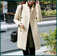 2014 Dongdaemun market new winter warm wool coat long sleeve beige white woolen outwear suit blazer thickened overcoat SH-010