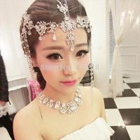 Red /silver /Gold Luxury Boho Tassel Crystal Forehead Wedding   Bridal Hair Accessory  wholesale