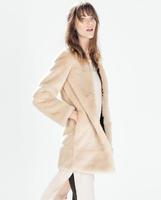 2014 new women's winter long faux fur jacket coat fashion slim overcoat for women desigual ladies' elegant  cardigans coats