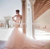 OW84 Oumeiya New Style Spaghetti Straps Low Back Sexy Mermaid Wedding Dress 2015