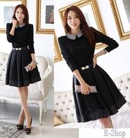 New Women Slim Peter pan Collar Autumn Dress Plus Size XXL Doll Collar Long Sleeve Elegant Dresses With Belt 2014 Winter Spring