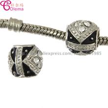 New silver 925 charm European Bead Core Charm white Rhinestone fit pandora charm bracelets free shipping KEPJ113