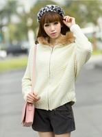 2014 new European style fur hat wool tie plus thick warm  sweater coat