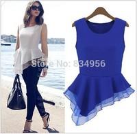 Woman Blouse NEW 2014 European and American Fashion Women Clothing Sleeveless Net Yarn Splicing Fashion blouse Free Shipping