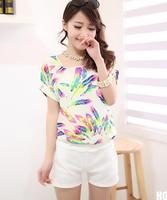 New 2014 HOT Fashion Color Women Ladies Chiffon Tops Blouse Summer T- Shirt