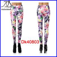 New 2014 Fashion Women Flower Printed Leggings Stretchy Fitness Yoga Pants Black Milk Casual Sport Leggings DK40803