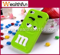 free DHL shipping ultra-cute M&M Chocolate bean design for iphone 4s cellular shell  many colors available