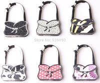 2014  Free shipping Women Fashion Bling Table Foldable Purse Hanger Hangbag Shape Hook