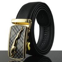 Men's 100% Genuine Leather Vintage Belts Cinturon Golden Leopard Head Buckle Suspenders pk485-T0