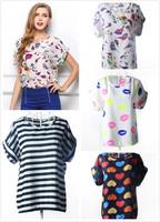 2014 Summer New Chic Hot Sale Women Birds Print Chiffon Shirt Blouse Casual Tops Batwing Sleeve Plus Size XL 2XL Free Shipping