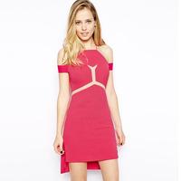 New arrival, High quality! Fashion o-neck off the shoulder empire mini Dress, Clubbing Dresses, Size M/L, DL21601