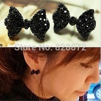 Hot Sale! Trendy Bowknot Earrings 10 Pairs Korean Sweet Style Vintage Black Butterfly Bow Stud Earrings, JW30