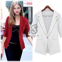 Slim fashion v-neck women coat one button jackets woman clothes Q098
