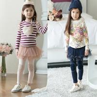 new 2014 girls winter leggings childrens baby thicken pants children pencil lace pants pantskirt
