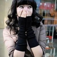 Fingerless Gloves Wrist Half Mittens Arm Warm Black Women's Long Gloves Adult Sports Mittens Length 38cm Width 9cm Free Shipping