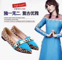 Genuine Leather women hot Leopard shoes,flat heel shoes for fashion women,100% high quality women casual shoes