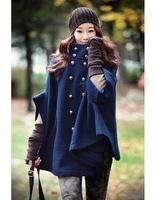 1pc/lot Free Shipping Hot Korean Fashion Womens Slim Double-Breasted coat Winter Wool Blends Frock Coat Warmly Windproof Jacket